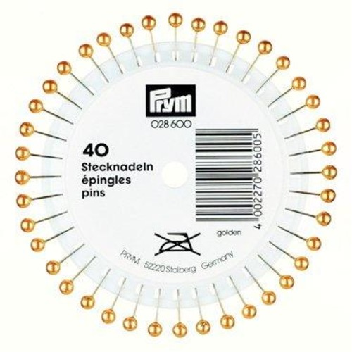 38mm Pearl Head Pins Gold 40 Piece Wheel (028600)