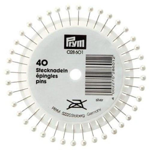 38mm Pearl Head Pins Silver 40 Piece Wheel (028601)