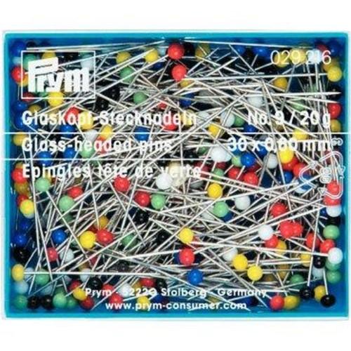 30mm Straight Glass Headed Pins 20g Box (029216)