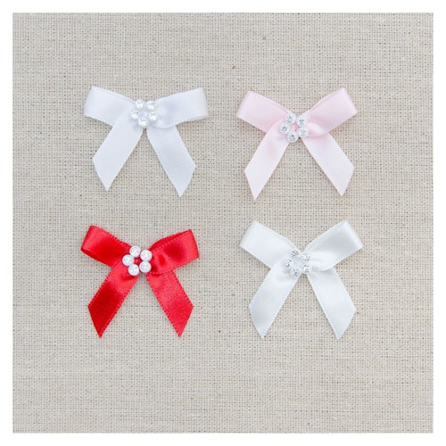 20 x Satin Bow With Diamante Flower (03312) (029 White)