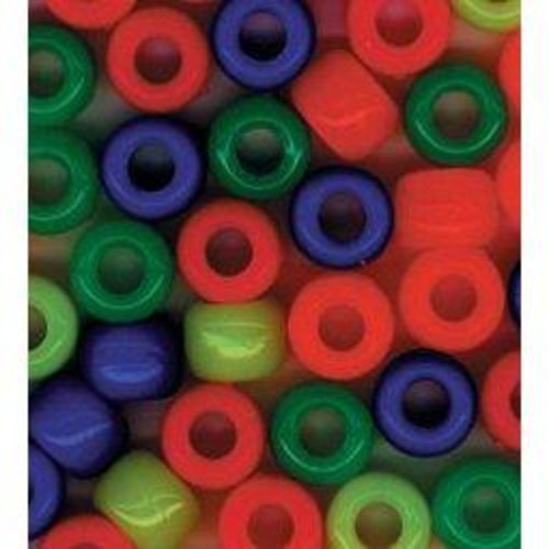 1lb x 9mm Neon Multi Pony Beads (0726-36)