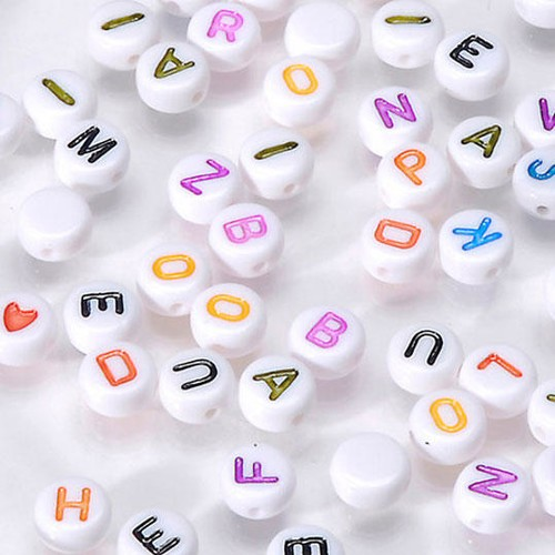 Alpha Beads 7mm White/Colour Letter Assorted 250 Piece (0791-20)