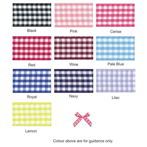 (08606G) Ribbon Bow 7mm Gingham (150 Pink)