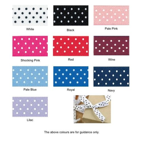 (08606PD) Ribbon Bow 7mm Polka Dot (029/030 White)