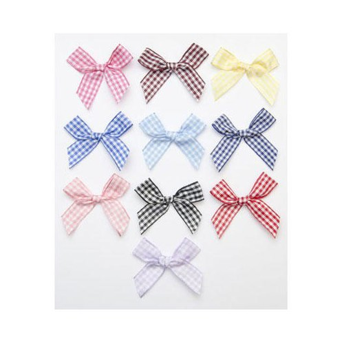 15mm (08615G) Gingham Bows (019 Navy)