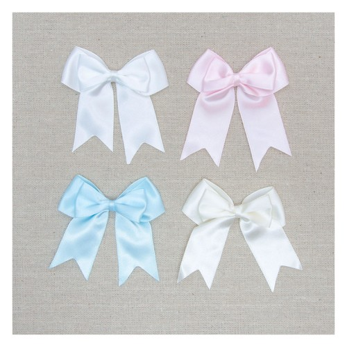25mm Satin Double Bow Pinched x 50pcs (08625SDP) (Ivory 028)