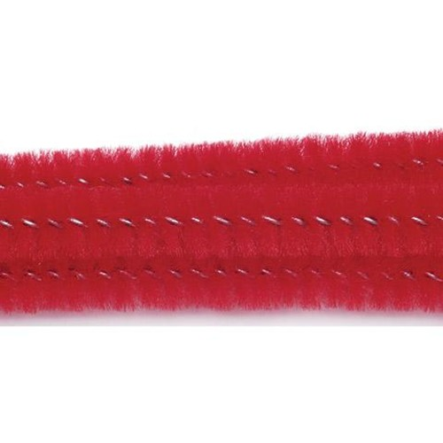 100 x Chenille Stems (Pipe Cleaners) Red (10166-30)