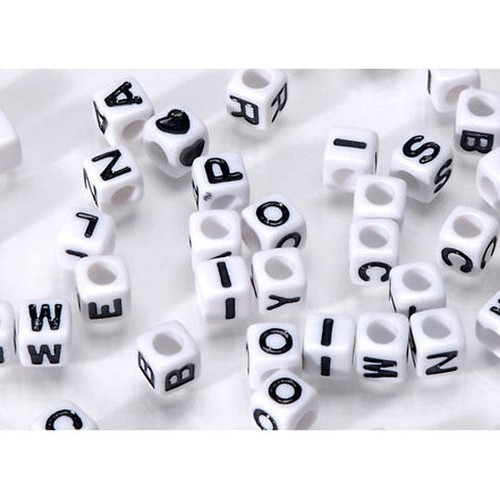 160 x 6mm Alpha Beads Black/White (1930-24)