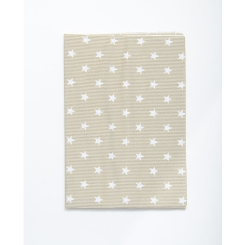 (2129-101) - A4 Fusible Fabric - White Stars on Beige