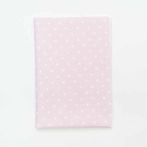 (2129-112) - A4 Fusible Fabric - White Polka-Dot on Pink