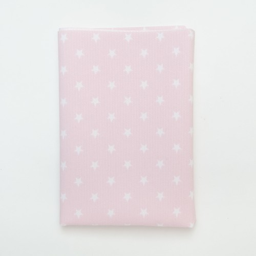 (2129-113) - A4 Fusible Fabric - White Star on Pink