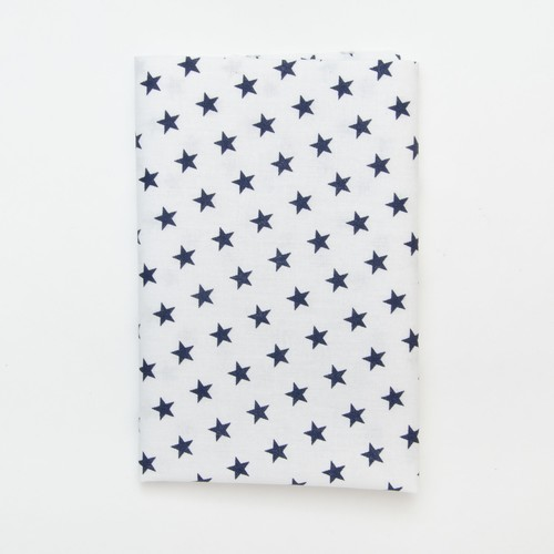(2129-116) - A4 Fusible Fabric - Navy Star on White