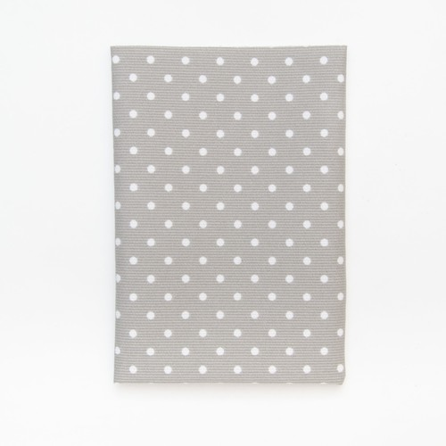 (2129-124) - A4 Fusible Fabric - White Polka-Dot on Dark Grey