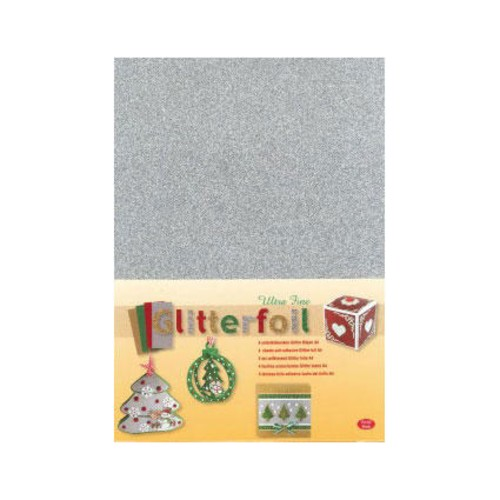 Self-adhesive Laminated Glitter Foil - A4 - Silver (3.0366)