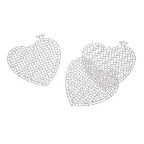 10 x Plastic Canvas 3 Inch Heart Shapes 7 Mesh (33147)