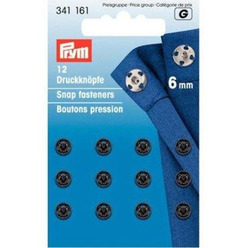 2 x 6mm Snap Fasteners Black 1(341161)