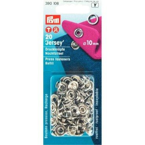 10mm Press Fasteners Jersey Ring Refill 20Piece Cd
