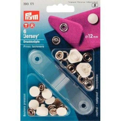 12mm Press Fasteners Jersey Cap White 6 Piece Card