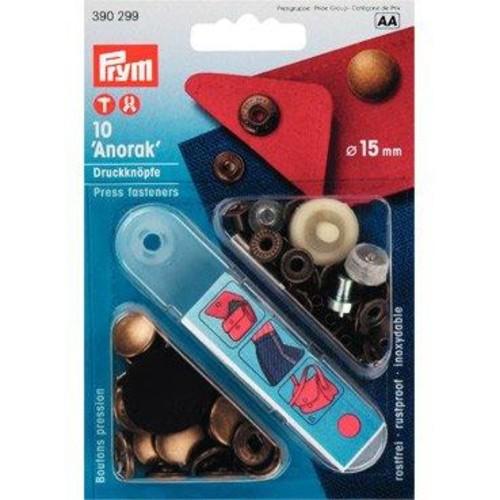 15mm Press Fasteners Anorak Ant Brass 10Piece Card