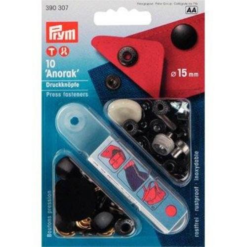 10 x 15mm Press Fasteners Anorak Black