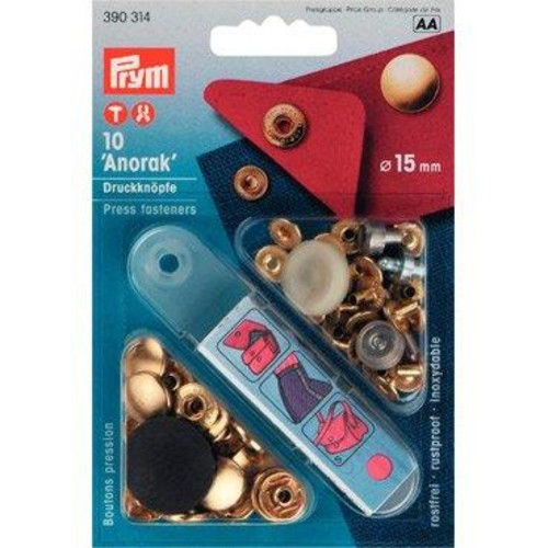 10 x 15mm Press Fasteners Anorak Gold