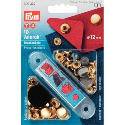 10 x 12mm Press Fasteners Anorak Gold