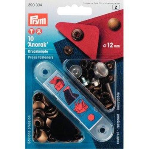 12mm Press Fasteners Anorak Ant Brass 10Piece Card