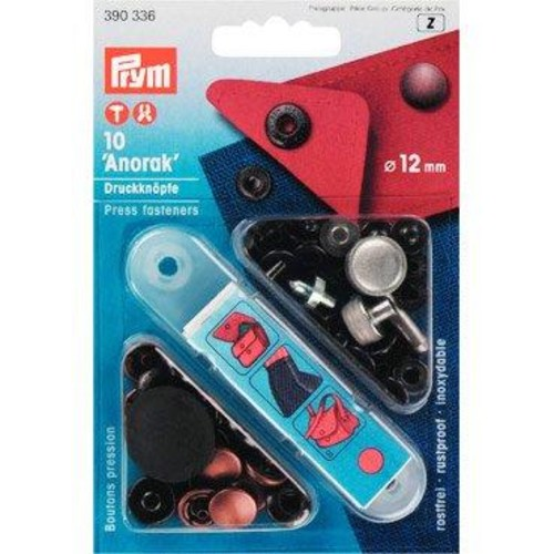 10 x 12mm Press Fasteners Anorak Ant Cop
