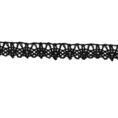 12mm x 25m Cotton Lace (464B) Black Card