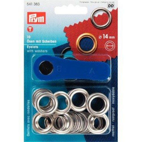 10 x Eyelets & Washers 14mm Silver (541383)