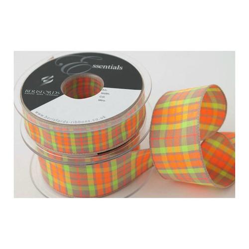 (6012040) Neon Textured Tartan Ribbon