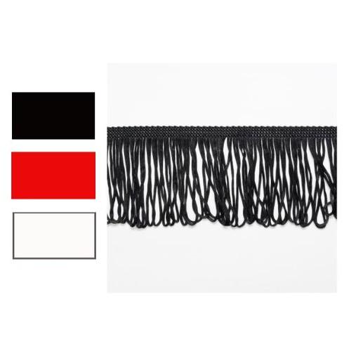 (8529L12.5) Looped Dress Fringe 12.5cm x 12.5m (220 Black)