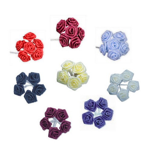 2 x 12mm Satin Ribbon Rose Flower Bunch 1(AMOF001)(Red)