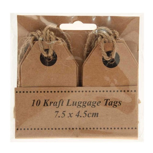 Kraft Luggage Tags 7.5cm x 4.5cm x 10 (AP-LA8700)