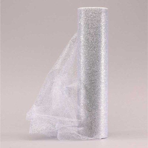 Sparkle Tulle Silver 30cm x 23m (AP-OR0321)