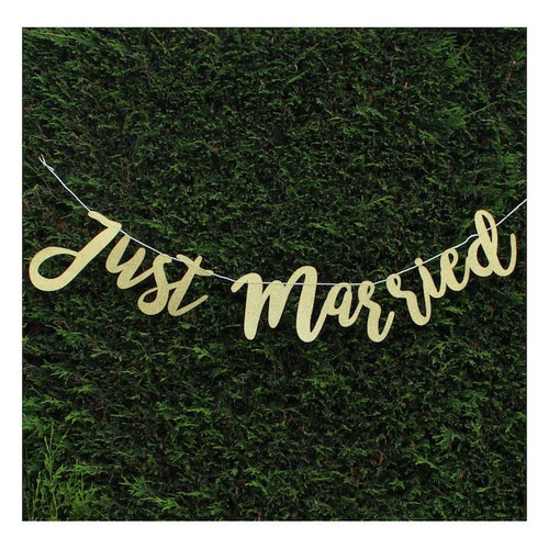 Glitter Just Married Banner Gold (AP-WED247)
