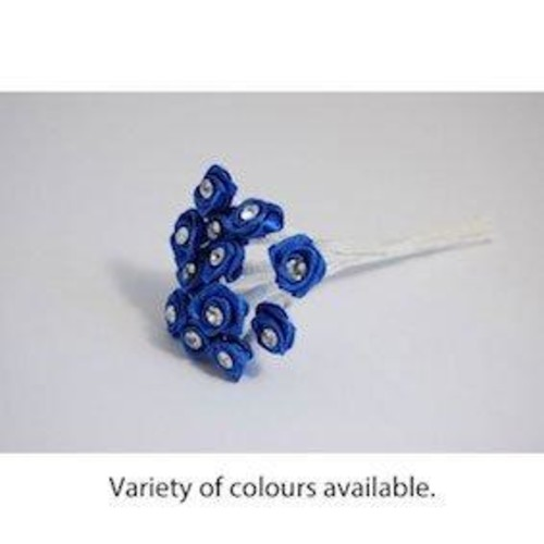 Diamonte Ribbon Rose Bunch 6 Pack(Sapphire Blue)