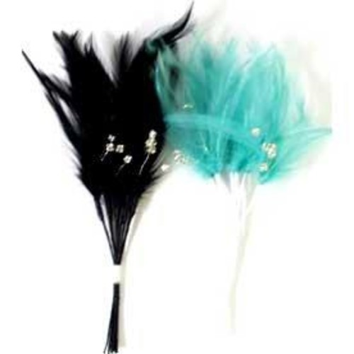 Diamonte Feathers 3 Bunch Pack(Purple)