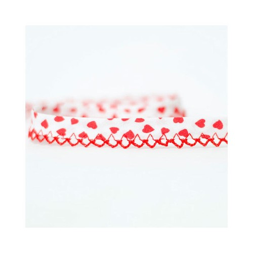 14mm x 20m Frilled Edge Bias Binding BBE14Heart(Red)