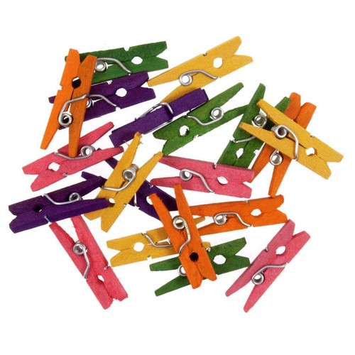 20 x 25mm Mini Clothes Pegs Coloured (C403)