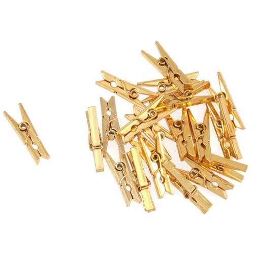 20 x Mini Metallic Pegs Gold (C526GLD)(Gold)