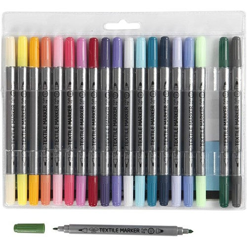 Textile Markers, line width: 2.3+3.6mm, additional colours, 20pcs (CC34833)
