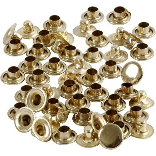 Rivets, D:7mm, Brass, 50pcs (CC406150)