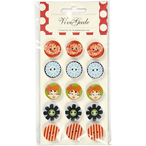 20mm Wooden Craft Buttons - London - Vivi Gade Design Pack - D: (CC40663)