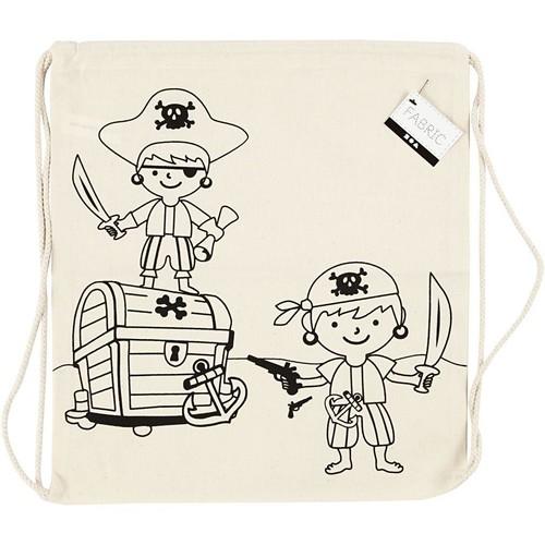 Drawstring Bag, size 37x41cm, 110g/m2, light natural, pirates, 1pc (CC499651)