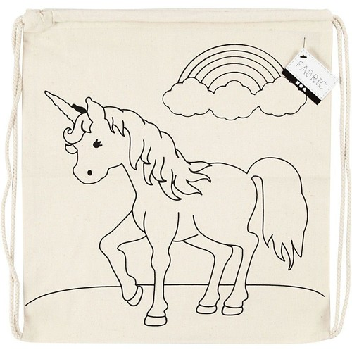 Drawstring Bag, size 37x41cm, 110g/m2, light natural, Unicorn, 1pc (CC499652)