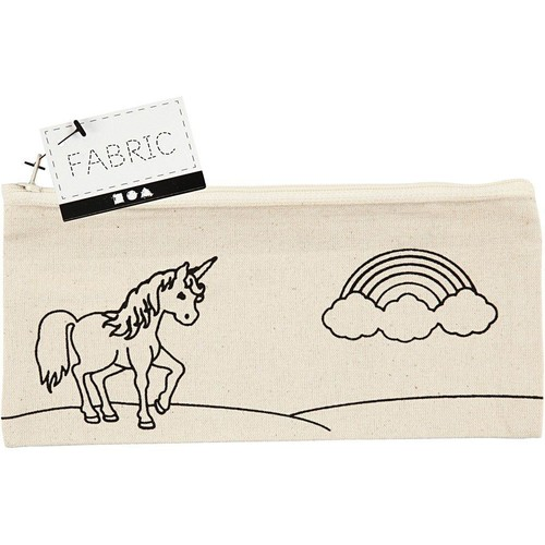Pencil Case, size 21x9cm, 245g/m2, light natural, Unicorn, 1pc (CC499662)