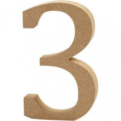 '3' Wooden Numbers 1 pc (CC56341)