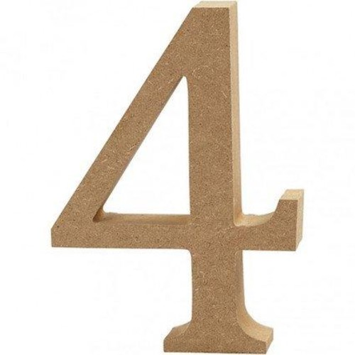 '4' Wooden Numbers 1 pc (CC56342)