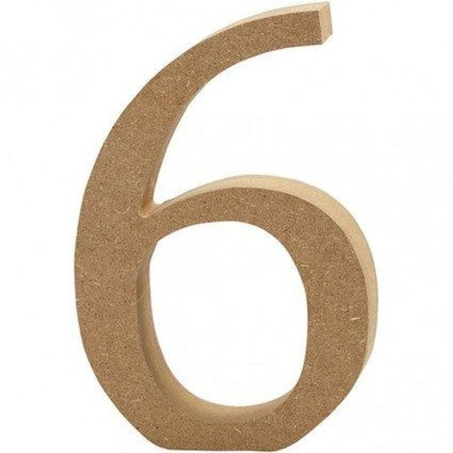 '6' Wooden Numbers 1 pc (CC56344)